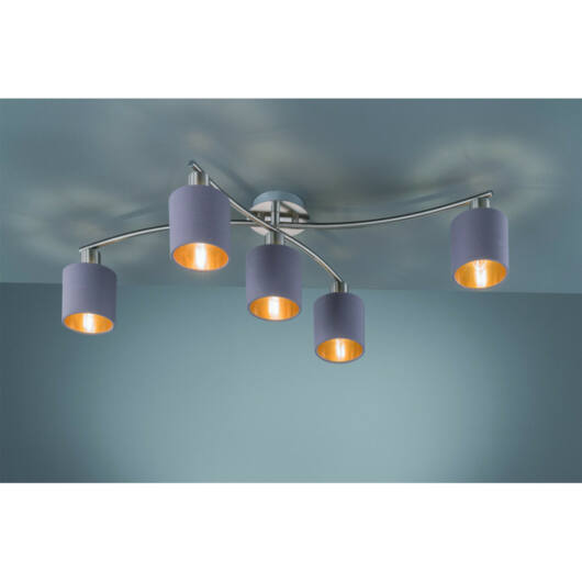 Trio GARDA 605400541 stropna svetilka  mat nikelj   kovinski   excl. 5 x E14, max. 25W   IP20